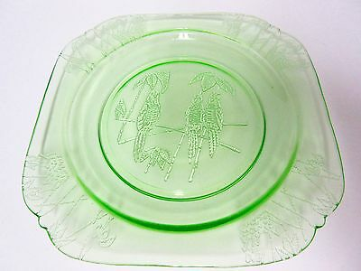 """Green Parrot 7 1/2"""" Plate / 6 Available / Federal Glass Co"""