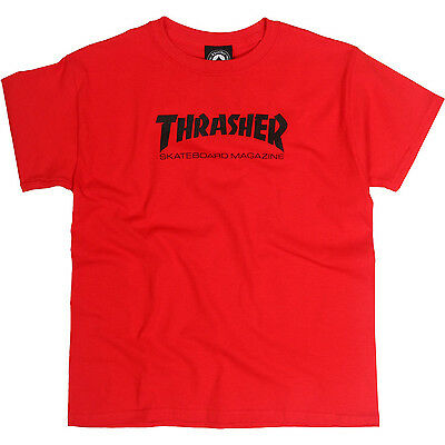 New with Tags THRASHER SKATEBOARD MAGAZINE Logo YOUTH T-Shirt (Red) Size LARGE