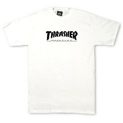 New with Tags THRASHER SKATEBOARD MAGAZINE Logo YOUTH T-Shirt (White) Size SMALL