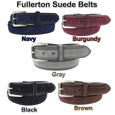 "Suede Leather Belt 1 3/8"" 35Mm Wide Men's Casual Golf Jean Dress 5 Colors Nwt"