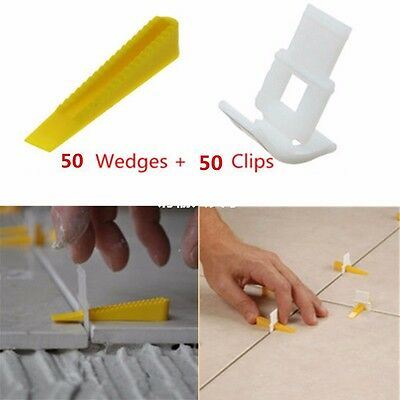 50-100Pcs Tile Flat Leveling System Wall Floor Spacers Strap Device Kit Tool