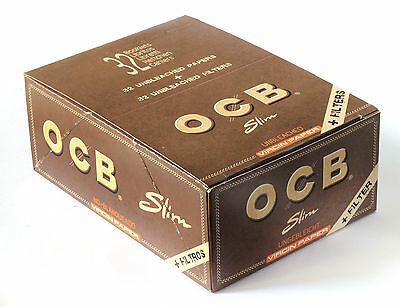 1 box - OCB VIRGIN SLIM Unbleached Rolling paper King Size + FILTER TIPS