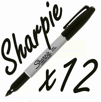 12  Sharpie Black Fine Point Waterproof Permanent Marker Pens Permenent