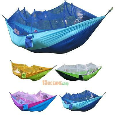 Portable Outdoor Fabric Camping Hanging Hammock Mosquito Net Parachute Bed