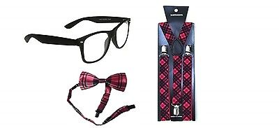 School Girl Burns Night Tartan Unisex Fancy Dress Pink Tartan Tie Braces Bow Tie