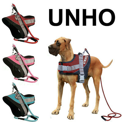 Unho Power Harness Strong Adjustable Reflective Dog Puppy Harnesses &lead Leash