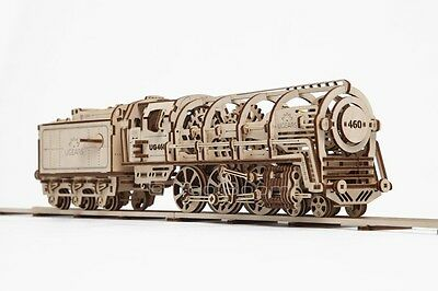 UGEARS Locomotive with Tender Mechanical 3D Puzzle DIY Wooden Construction Set