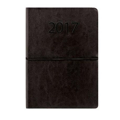 A5 Black Leatherette Executive Week to View (On 2 Pages) Diary & Band 2017