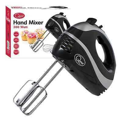 Quest Hand Food Mixer, Whisk, Dough Hooks, 5 Speed Turbo 300W Black Attachments
