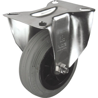 Atlas Workholders Ss Fixed Plate 100Mm Grey Rubber Tyre