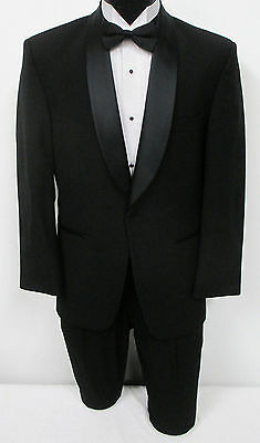 Black One Button Satin Shawl Tuxedo Jacket Wedding Prom Mason Cruise 44R