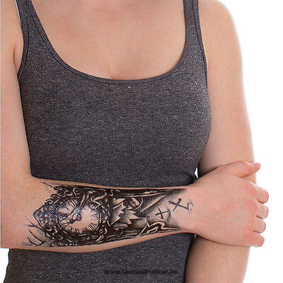 Einmal-Tattoo Temporary Tattoo wasserdicht 90 x 200mm  Tattoo Rome Clock Classic