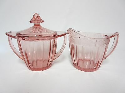 Pink Adam Creamer & Sugar Set With Lid / Jeannette Glass Co