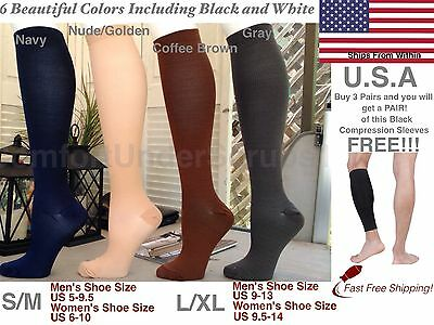 Neutral Colored Graduated Compression Socks Anti Varicose Veins & Recovery Lot!!