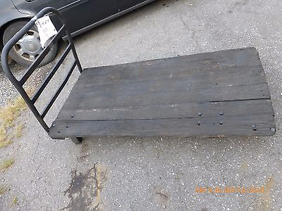 Vintage Steel Frame Wooden Platform Push Cart/Truck/Dolly