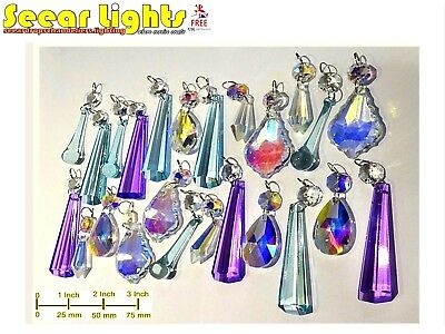 Aurora Borealis Pastel Teal Ab Chandelier Droplets Crystals Glass Wedding Drops • CAD $44.34