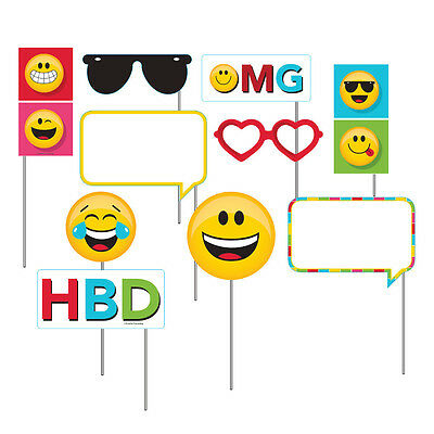 Emoji Photo Booth Props 10pc Smiley Face Birthday Party Game Activity Supplies