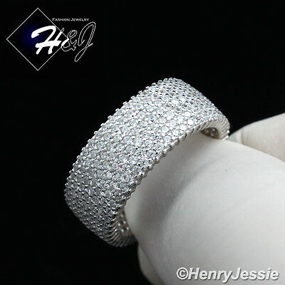 Men Women 925 Sterling Silver Full Iced Lab Diamond 8Mm Wedding Band Ring*sr62