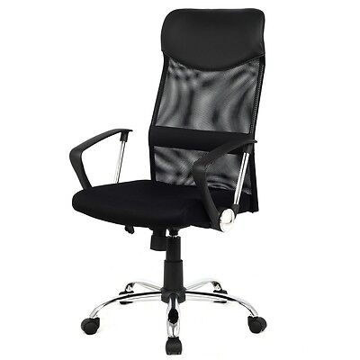 Executive Black Beige Office Chair Leather Mesh Home Computer Desk Ergonomic