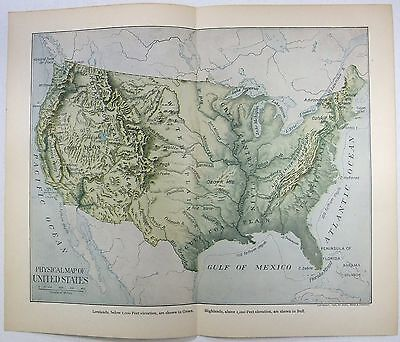 Original 1903 Dated Physical Map of The USA by Dodd Mead & Company