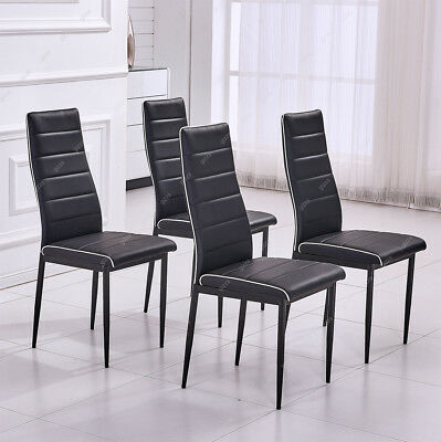 4 x Faux Leather High Back Dining Chairs Set Black Metal Leg Padded Seat Kitchen