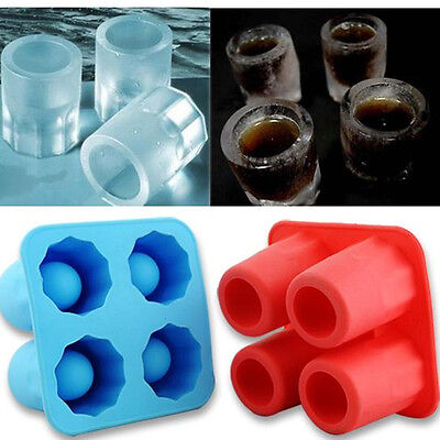 4-Cup Ice Cube Shot Shape Silicone Shooters Glass Freeze Molds Maker Tray Party