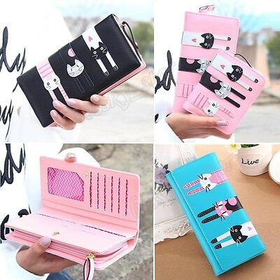 Women Cartoon Cat Pattern Kitten Coin Purse Zip Card Holders Handbag Long Wallet