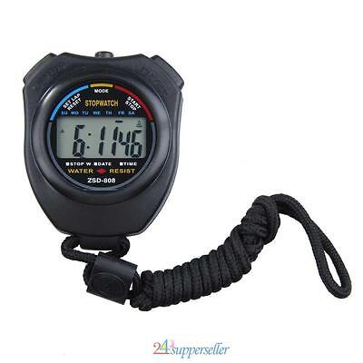 Digital Handheld Stopwatch Stop Watch Timer Clock Alarm Counter Sports Timing Uk