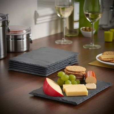 Set Of 8 Natural Slate Square Place Mat Coffee Table 4 Placemat 4 Coasters Drink