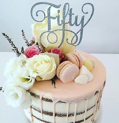 Fifty Cake Topper - Silver Glitter