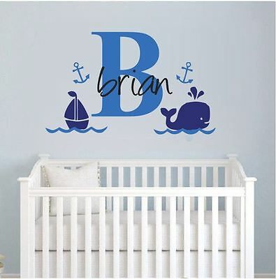 wall stickers custom name whale sail boat kids baby vinyl decal decor Nursery