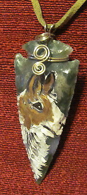 Lhama hand painted on newly knapped arrowhead pendant/bead/necklace