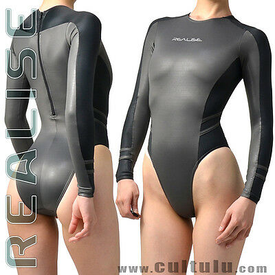 REALISE [N015] langarm SSW Badeanzug swimsuit Lycra wetlook leotard Japan IMPORT