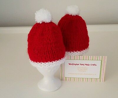 Hand Knitted Pair of Santa Hat Christmas Egg Cosies - Red and White