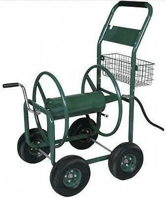 Garden Hose Reel on Trolley with Basket