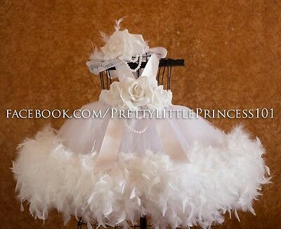 FEATHERS VICTORIAN BAPTISM CHRISTENING GOWN VINTAGE FLOWER GIRL 3 months - 2T