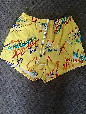 Men's 70's Vintage Abstract Yellow Artsy Big Sur Surf Shorts Large