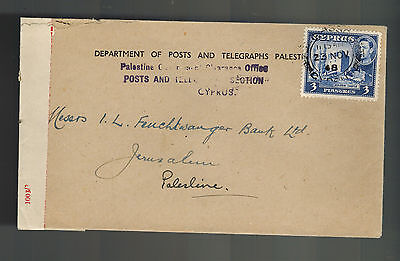 1948 Cyprus PAlestine Government Clearance Office Censored Cover to Jerusalem