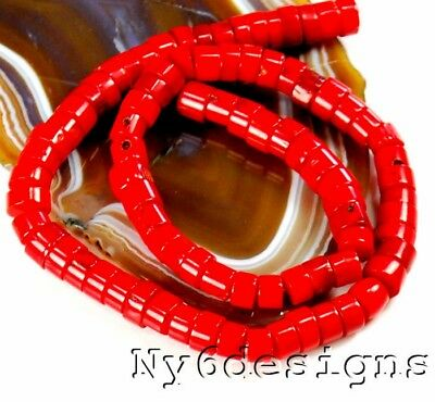 "8x4mm Red Sea Coral Heishe Beads 15"" (CO199)b"