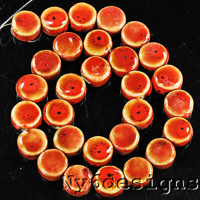 "14x14x7mm Red Porcelain Coin Beads 15"" (PO33)c"