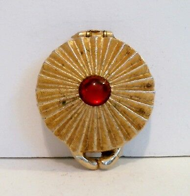 Houbigant Solid Perfume Compact Ruby Red Cabochon Goldtone Scallop 10% Full