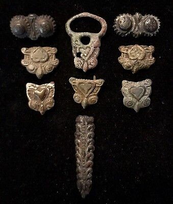 "Ancient Viking ""Owl Buckle & Belt Applications"" Owl Artifacts-9 Pieces"