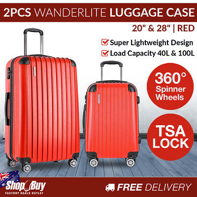 2PCS Luggage Set Hard Shell 4 Wheels Suitcase TSA Lock Travel Carry On Bag Red