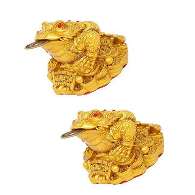 2 x Chinese Traditional Money Lucky Fortune Three Legged Frog Toad Coin Decor