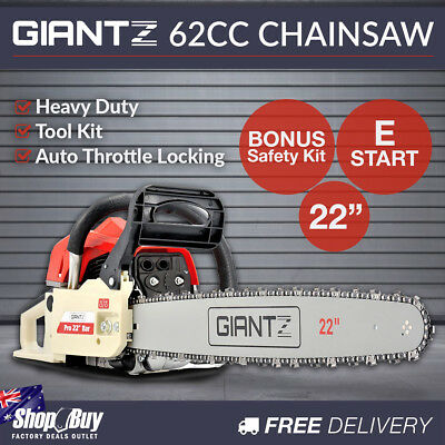 22'' Petrol Chainsaw 62cc E-start Bar Commercial Pruner Tree Log Chain Saw