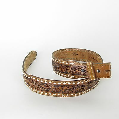 """Vintage Tooled Brown Leather And Laced Western Belt """" PAT """" Acorns Foliage sz 34"""