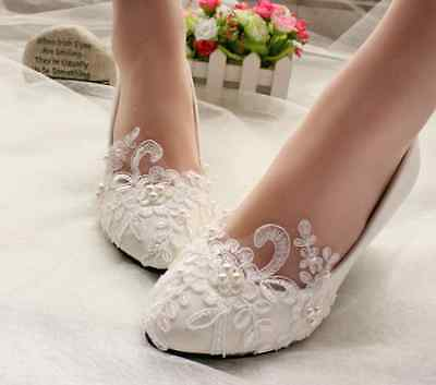 2016 White lace crystal Wedding shoes Bridal flats/low/high heels size