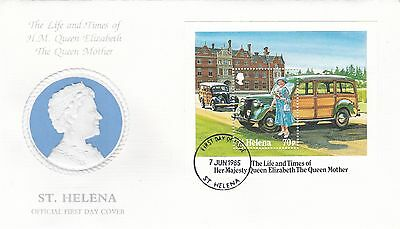 1985 ST HELENA Queen Mothers 85th BIRTHDAY Stamp MINI SHEET FDC Ref:A412