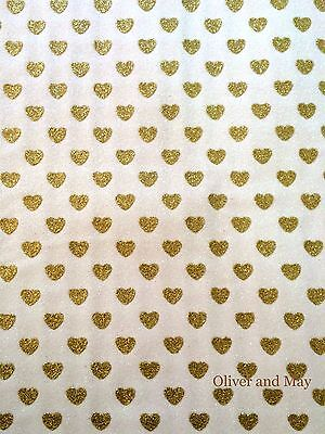 Glitter Fabric with Sparkly Love Hearts A4 Sheet Fine White   Gold OR Pink   Red