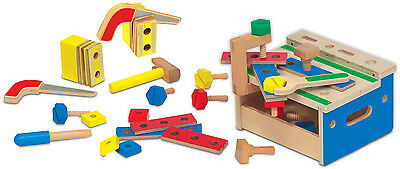 Melissa & Doug HAMMER AND SAW TOOL BENCH Mini Wooden Playset Child/Kids BN
